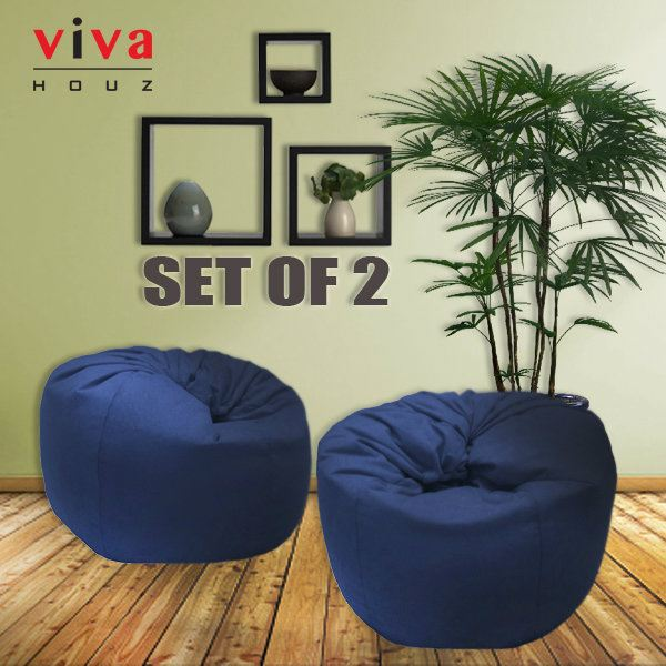 Viva Houz Trendy Bean Bag Sofa Chair XL Size 25kg Black Set Of 2