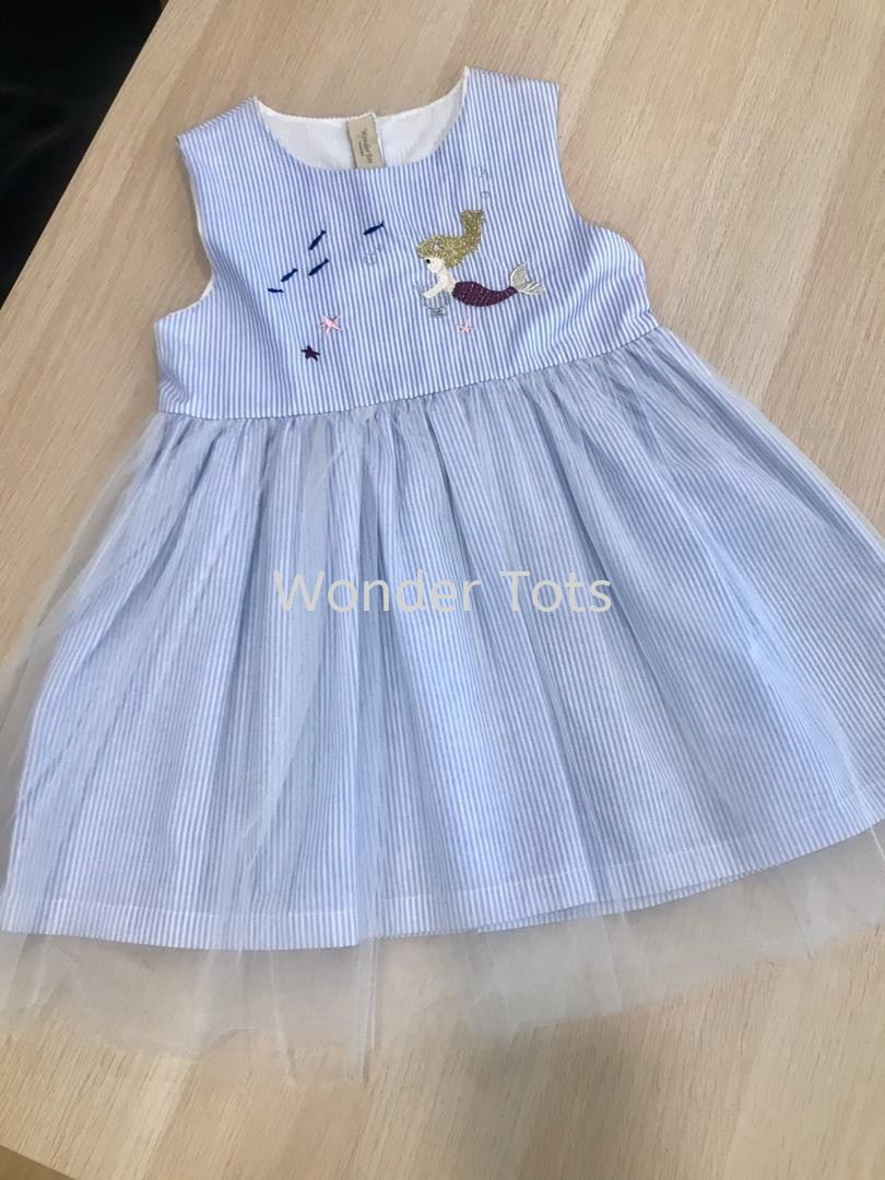 Blue Stripes Embroidered Mermaid Girl Dress