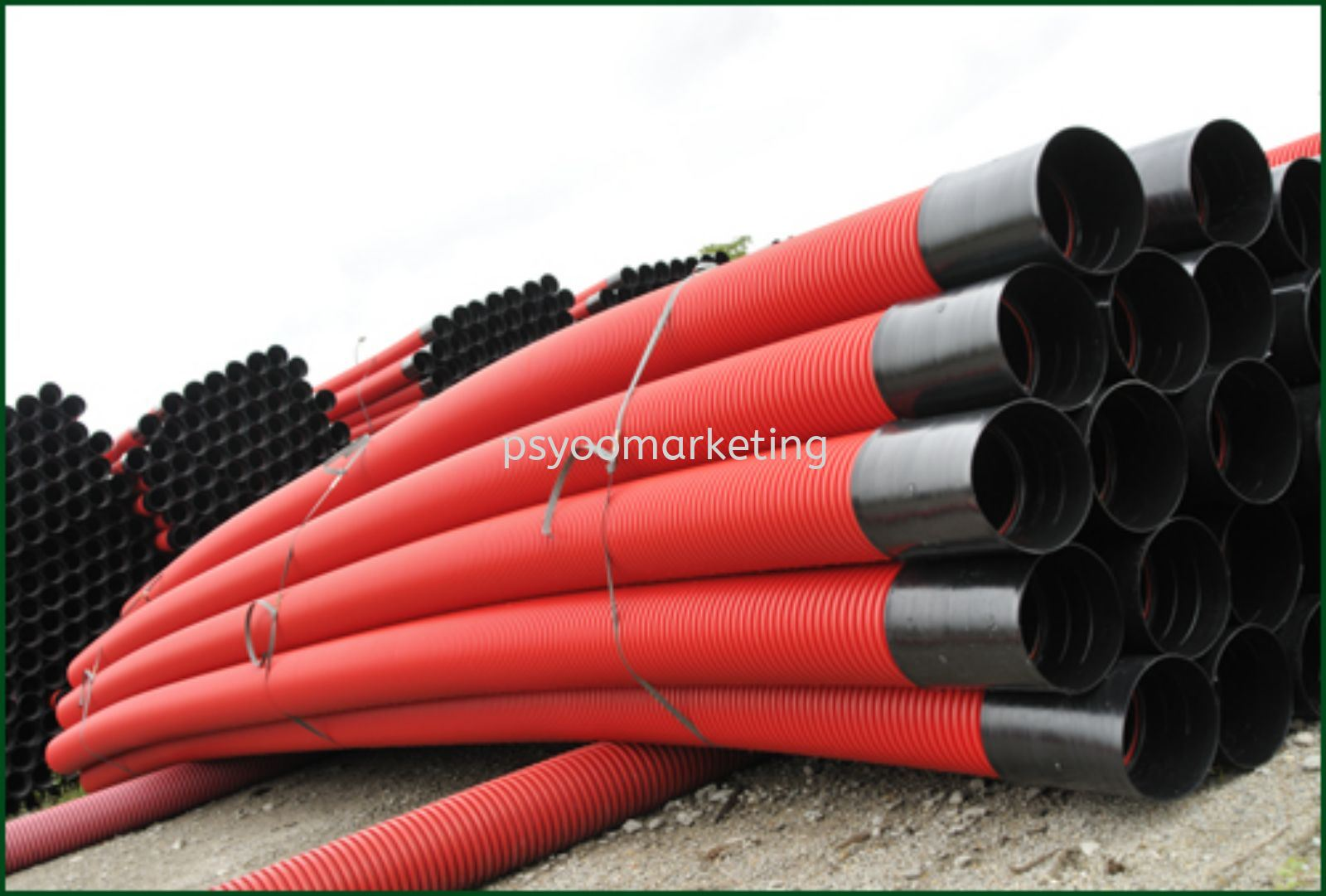 100MM x 6M HDPE DOUBLE WALL Corrugated pipe with socket red/black