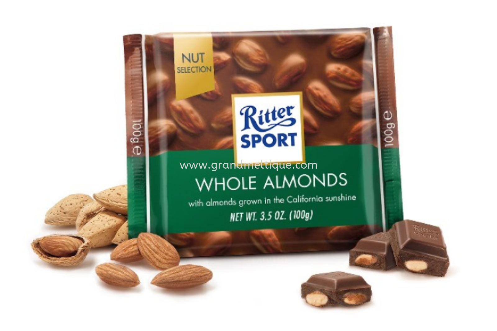 RITTER SPORT WHOLE ALMONDS 瑞特斯波杏仁巧克力100G