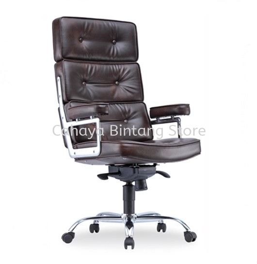 MODY DIRECTOR HIGH BACK LEATHER CHAIR C/W CHROME METAL BASE