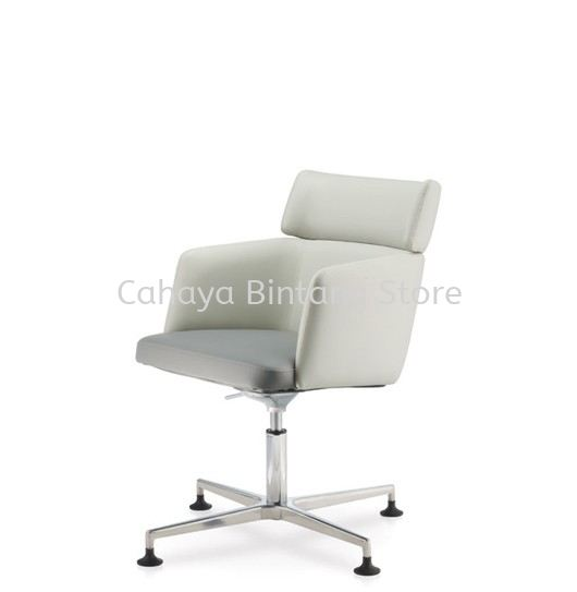 ANTHOM EXECUTIVE MEDIUM BACK LEATHER CHAIR C/W 4 PRONGED ALUMINIUM BASE AT6631L-15