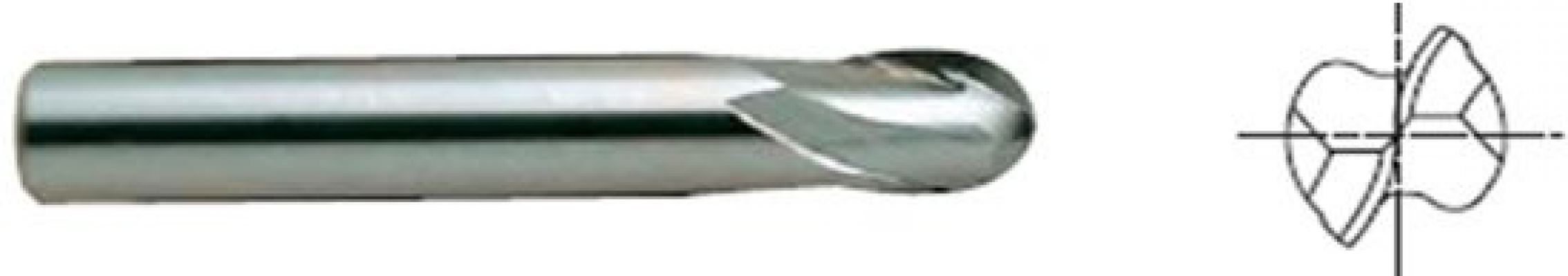 2 Flute, Carbide End Mill - Ball Nose