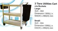3 Tiers Utilities Cart c-w Buckets Trolley and House Keeping