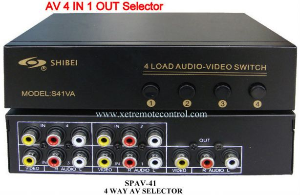 SPAV-41 4 WAY AV SELECTOR SPLITTER