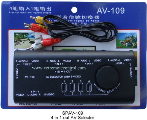 4 WAY AV SELECTOR SPLITTER AV-109