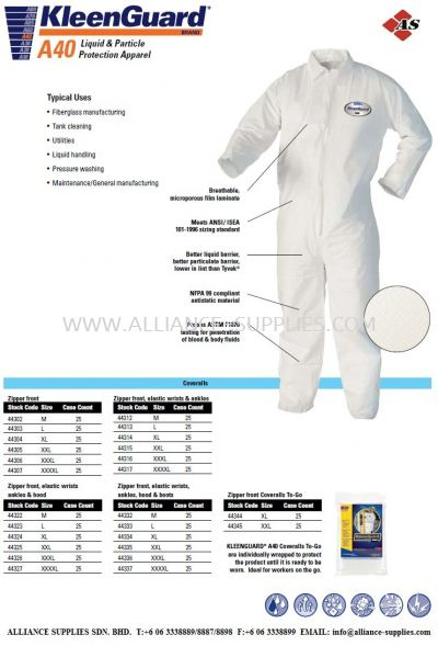 Kleenguard A40 Liquid & Particle Protection Apparel
