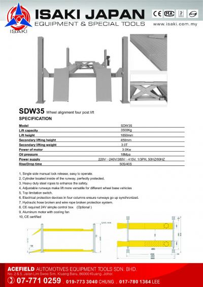 SBW35 Wheel Alignment Four Post Lift
