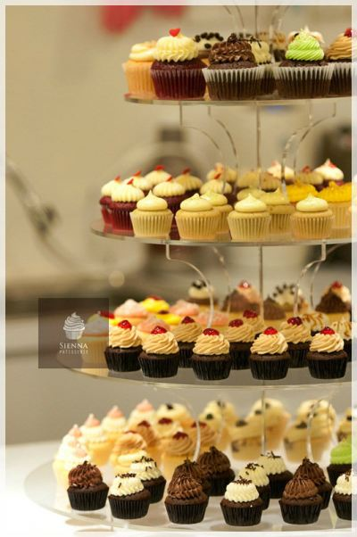 Cupcake towers with assorted flavors