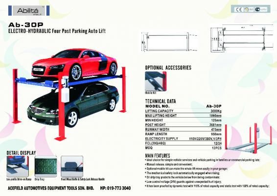 AB - 30P Electro - Hydraulic Four Post Parking Auto Lift