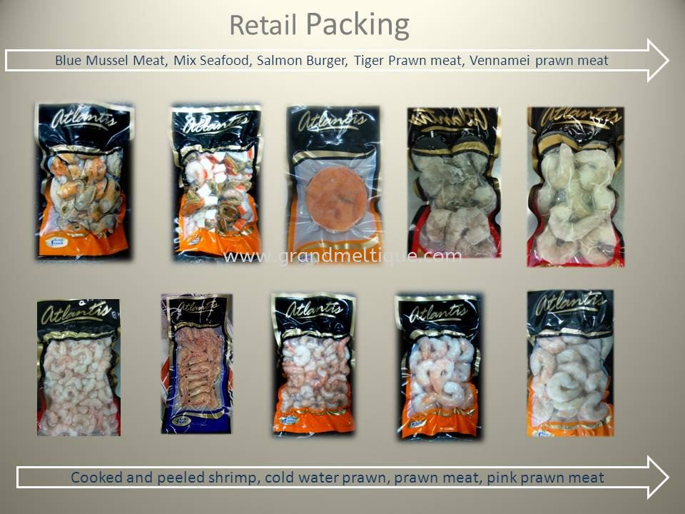 Variety Of Frozen Seafood Retail packing