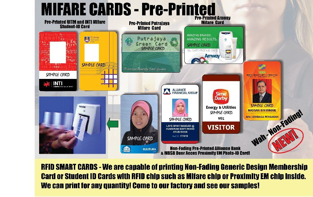 White PVC or Pre-Pinted MIFARE Cards Mifare Cards Malaysia, Kuala Lumpur Manufactuer & Supplier | Multi Card