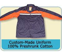 Custom-Made Uniform 100% Preshrunk Cotton