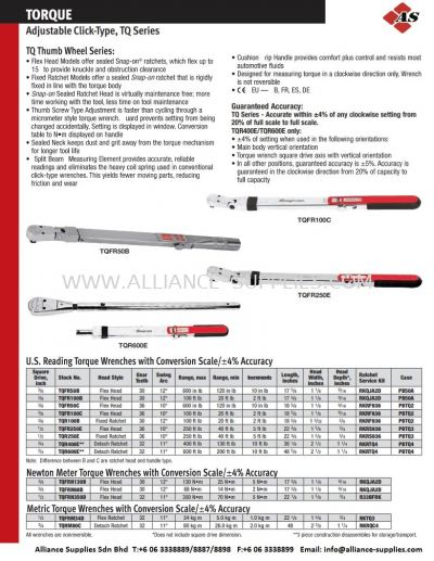 SNAP-ON Adjustable Click-Type Torque Wrench TQFR50B/TQFR100B/TQFR50C/TQFR100C/TQR100B/TQFR250E/TQR250E/TQR400E/TQR600E/TQFRN130B/TQFRN68B/TQFRN350D/TQFRM34D/TQRM80C