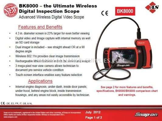 SNAP-ON Videoscope / Borescope -BK8000,BK6000