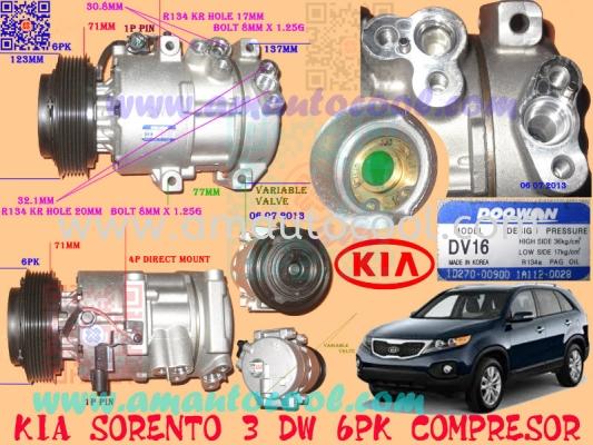 (CPS)   Kia Sorento 3 DW 6PK Compressor