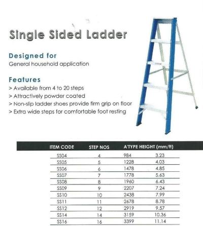 Everlas Singer Sided Ladder Model:SS04,SS05,SS06,SS07,SS08,SS09,SS10,SS11,SS12,SS14,SS16