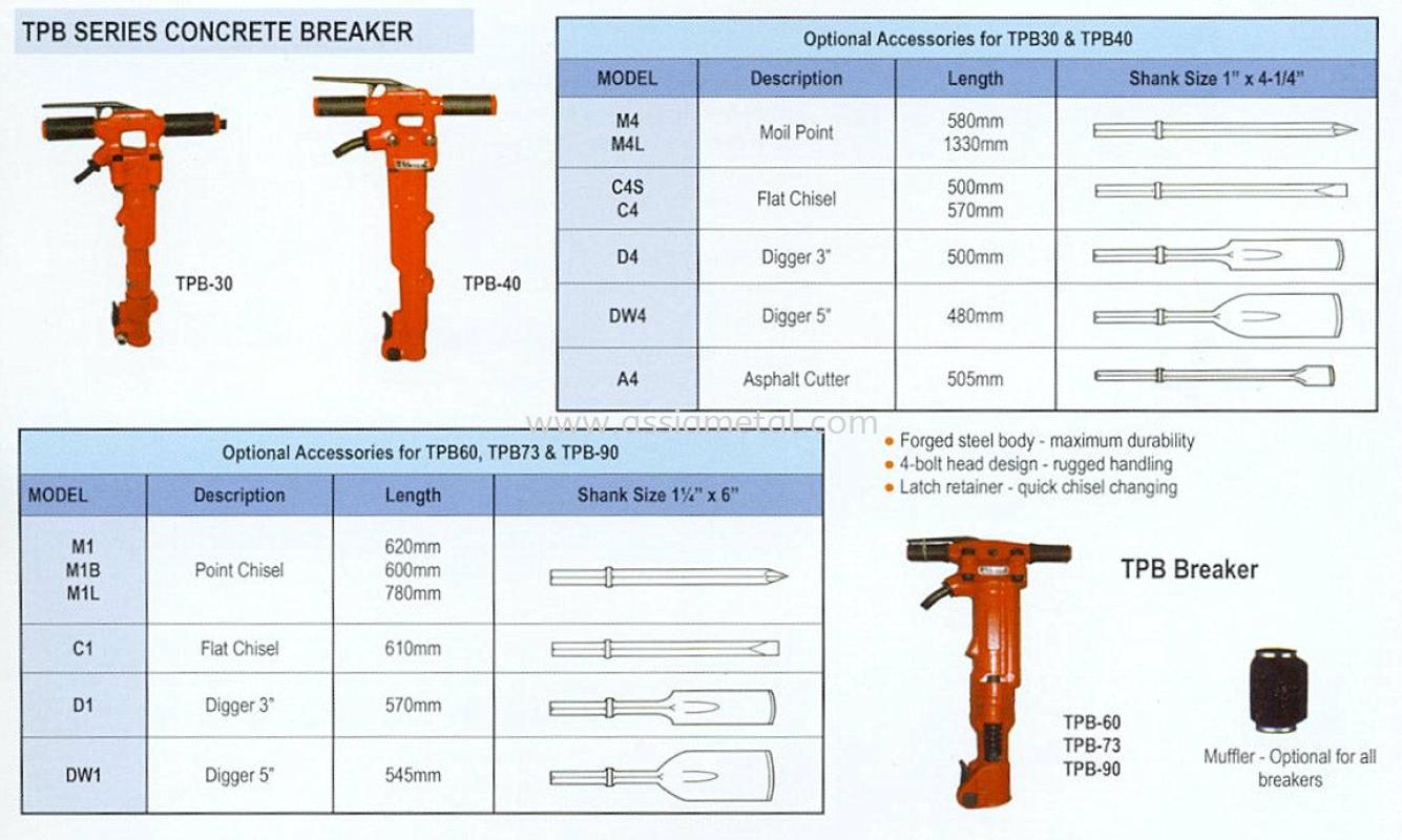 TPB Series Concrete Breaker Toku Air Tools Johor Bahru, JB, Malaysia Supply Supplier Suppliers | Assia Metal & Machinery Sdn Bhd