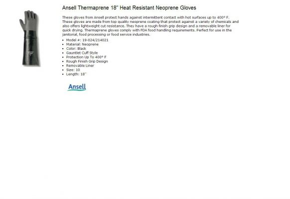 ANSELL THERMAPRENE HEAT RESISTANT GLOVE