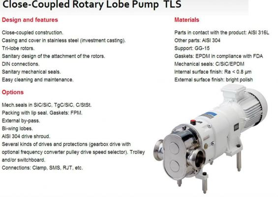 Close-Coupled Rotary Lobe Pump TLS