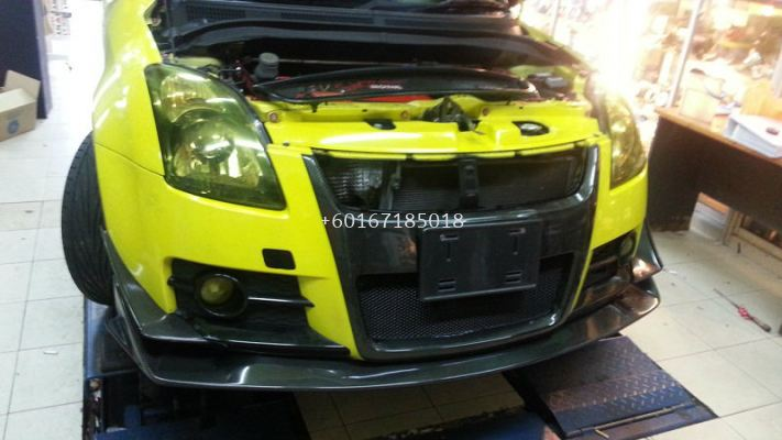 2005 2006 2007 2008 2009 2010 2011 suzuki swift zc31s sport front bumper h brace cover for swift sport add on upgrade performance look real carbon fiber material new set
