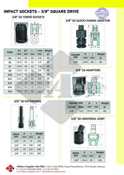 "OZAT Impact Sockets, Extension, Adaptor, Universal Joint - 3/8"" Square Drive"