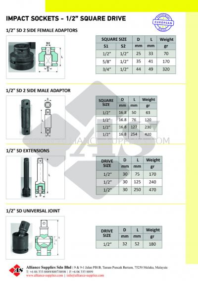 "OZAT Impact Adaptors, Extensions, Universal Joint - 1/2"" Square Drive"