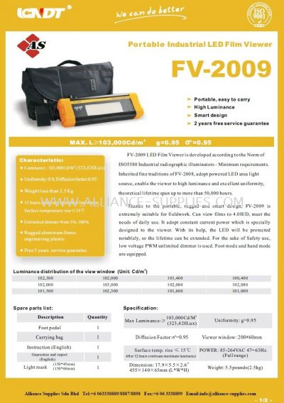 Portable Industrial LED Film Viewer/ X-Ray Film Viewer FV-2009