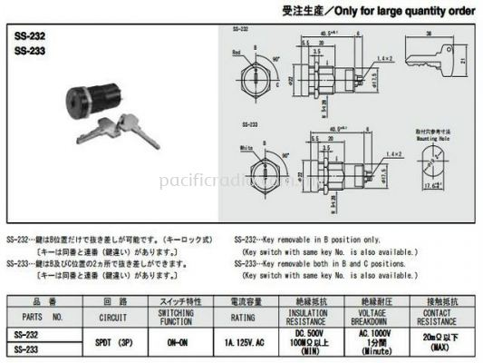 Key Lock Switches SS-232~233