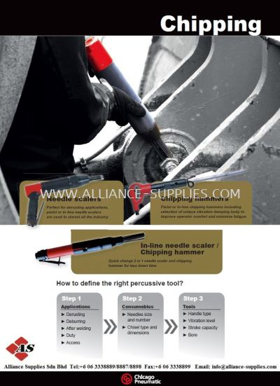 Chicago Pneumatic - CP Percussive Tools: Needle Scaler/ Chipper/ Chipping Hammers/ In-Line Needle Scaler/ Chipping Hammer (2 In 1)