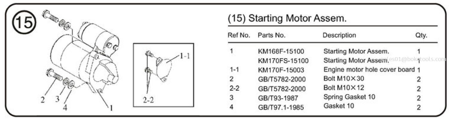 15. Starting Motor Assem (KM170FE-15000)