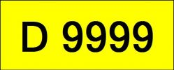 Number Plate D9999 Rare Classic Plate