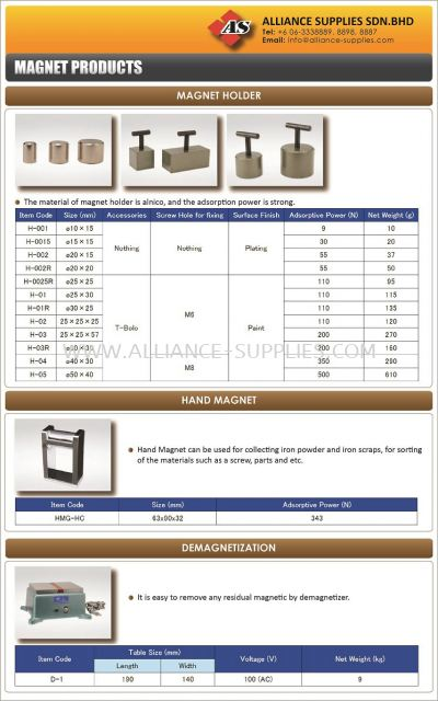 Riken Magnet Products/ Magnet Holder/ Hand Magnet/ Demagnetization