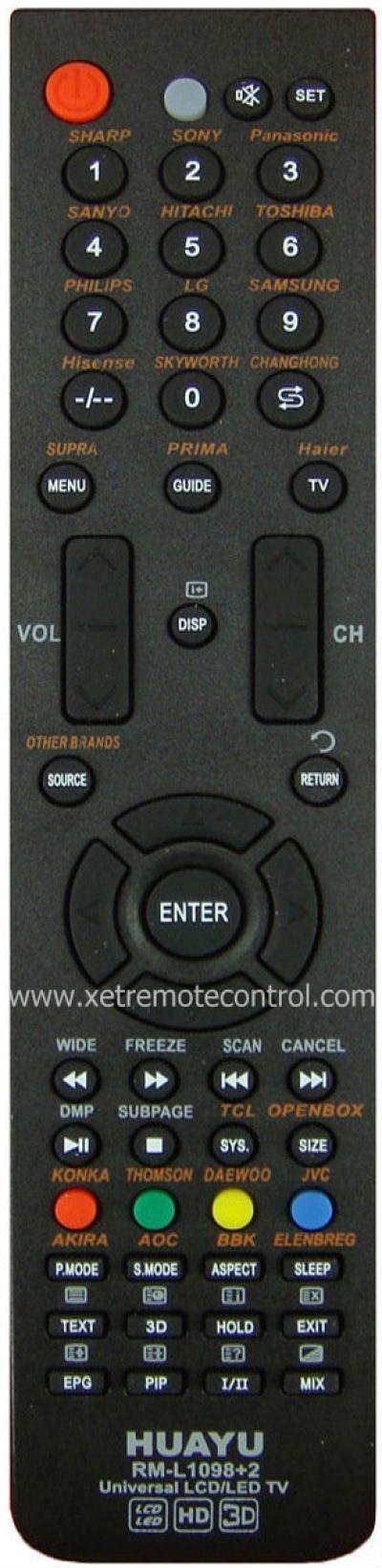 RM-L1098+2 华宇通用万能LED/LCD电视遥控器