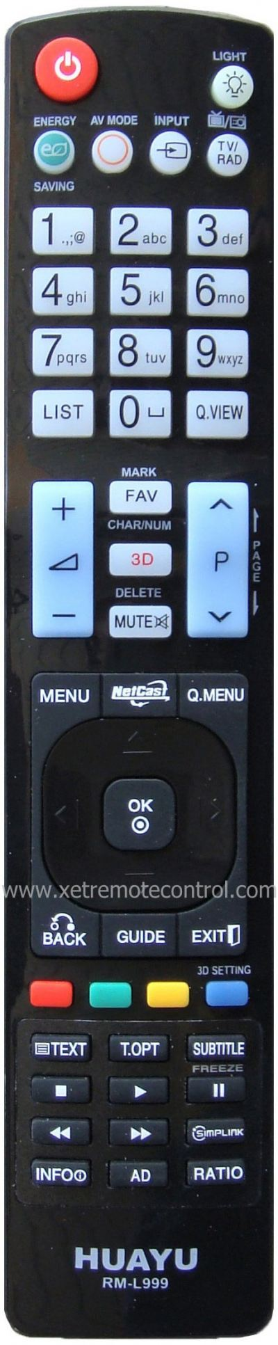 RM-L999 LG LCD/LED TV REMOTE CONTROL