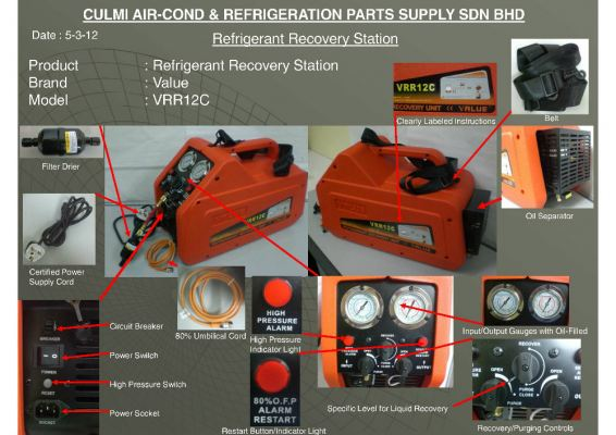VALUE VRR12C Refrigerant Recovery Station C/W 80% SHUT OFF