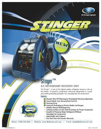 BACHARACH 2006-3808 Stinger (Blue) Recovery Machine (240V) c/w 80% Shut-Off