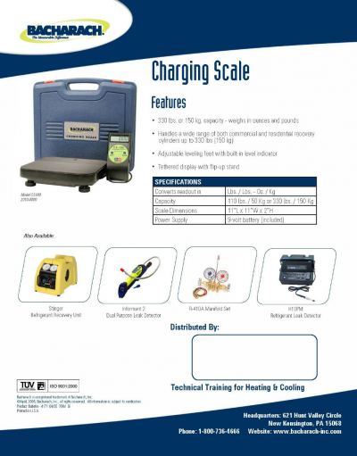 Bacharach CS100 Electronic Charging Scale