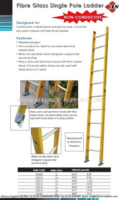 Fiber Glass Single Pole Ladder (Non-Conductive Ladder)