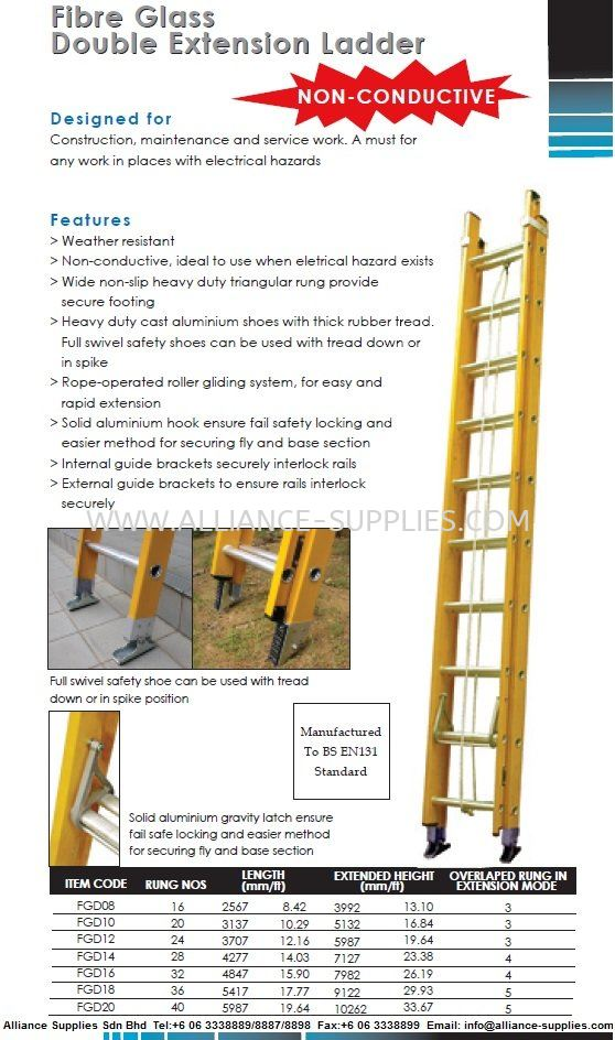 Fibre Glass Double Extension Ladder (Non-Conductive Double Extension Ladder) 22.ACCESS EQUIPMENT