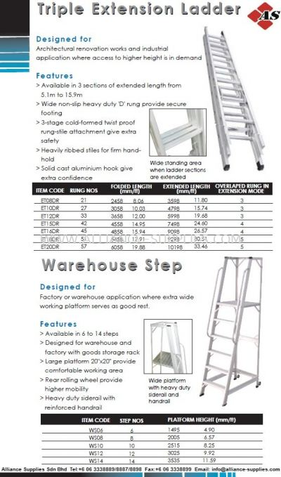 Triple Extension Ladder & Warehouse Step Ladder