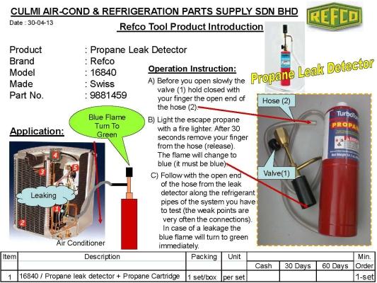 REFCO 16840 LEAK DETECTOR C/W PROPANE GAS