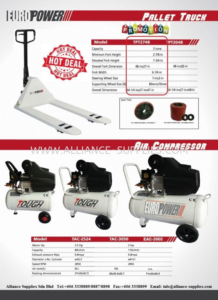 PROMO OF THE MONTH:Europower Air Compressors 2.5HP, 3HP & Hand Pallet Truck 685MM X 1220MM