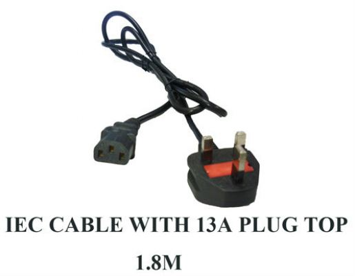 IEC Cable with 13A Plug 1.8M