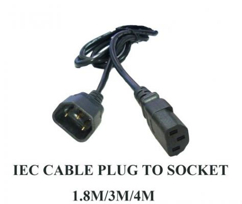 IEC Cable Plug To Socket 1.8M, 3M, 4M