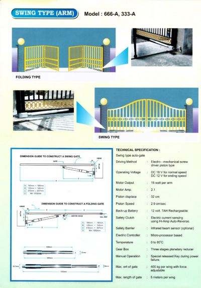 OAE AUTO GATE SYSTEM Swing Type Arm