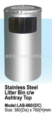 Stainless Steel Litter Bin c/w Ashtray Top