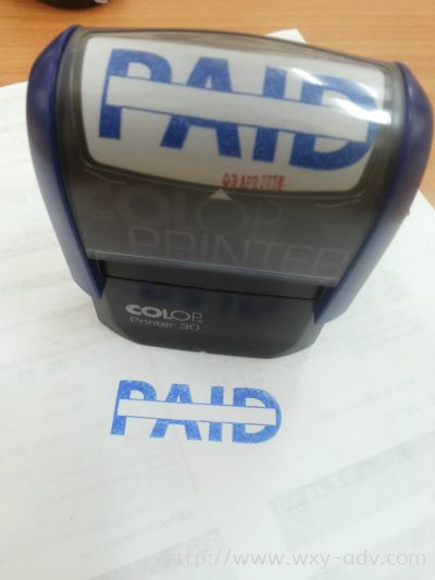 Paid Stamp With Blue Ink
