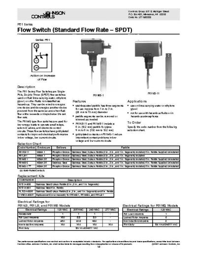 Johnson Controls Flow Switch (Standard Flow Rate  SPDT)