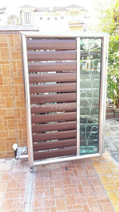 Stainless Steel 13F Folding Gate and Aluminum Wood Plate @ Tempered